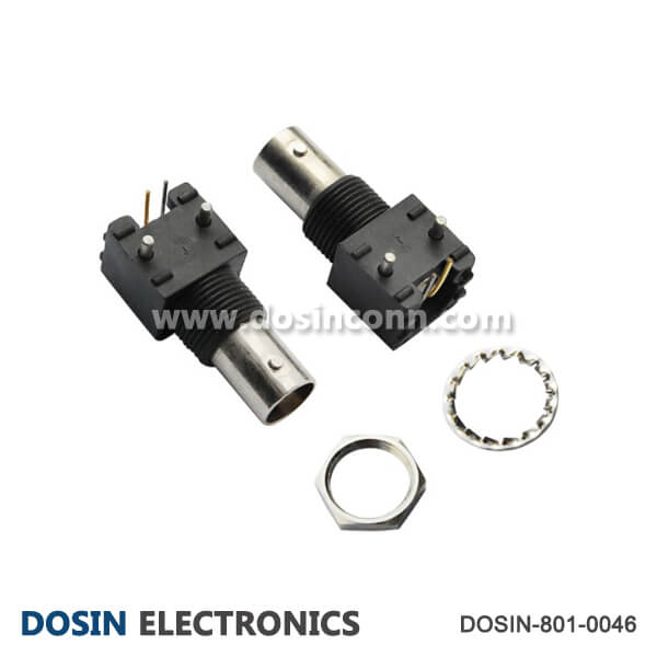 BNC Connector Video Black Plastic Female Angled for PCB Mount