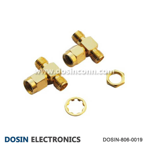 SMA Connector Adapter Male to Double Bulkhead Female