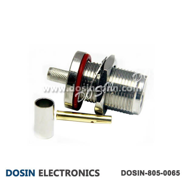 N Connectors Waterproof Straight Bulkhead Crimp Type for Cable