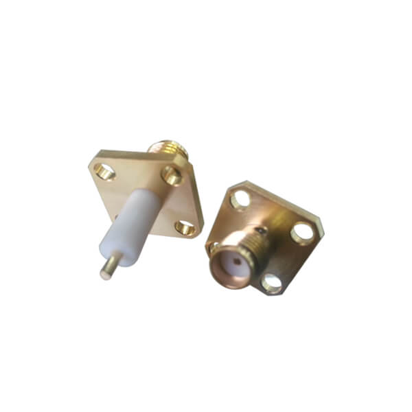 SMA Connector Straight Jack 4Hole Flange Epoxy Captivated for Panel with Extended PTFE