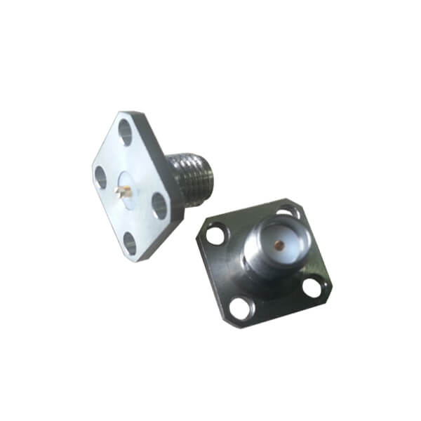 SMA Female 4Hole Flange Connector Epoxy Captivated for Panel Mount with Slot Terminal