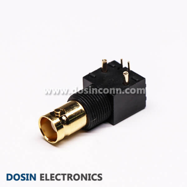 BNC Connector Female 90 Degree Gold Plated Black for PCB