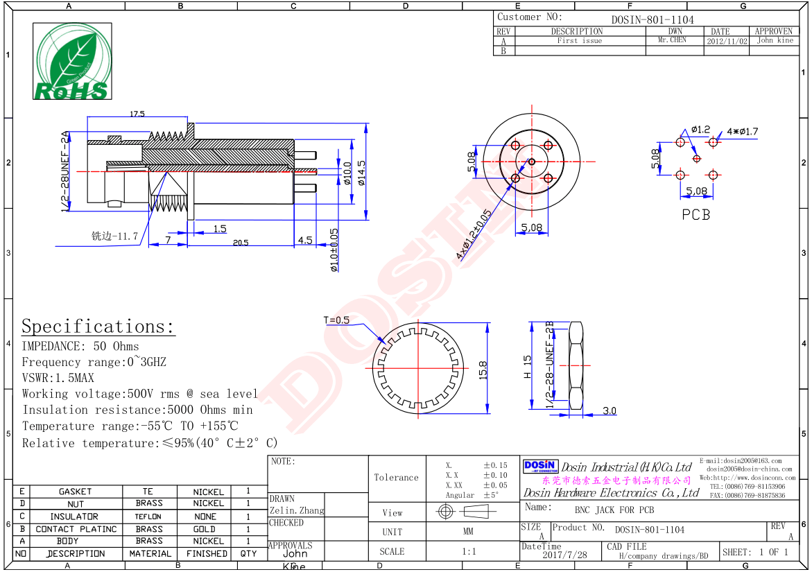 BNC Connector Extended Female Vertical Type Through Hole for PCB