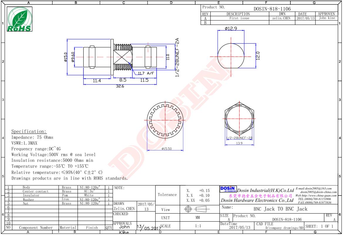 RF Coax Adapter BNC Adapter Female to Female