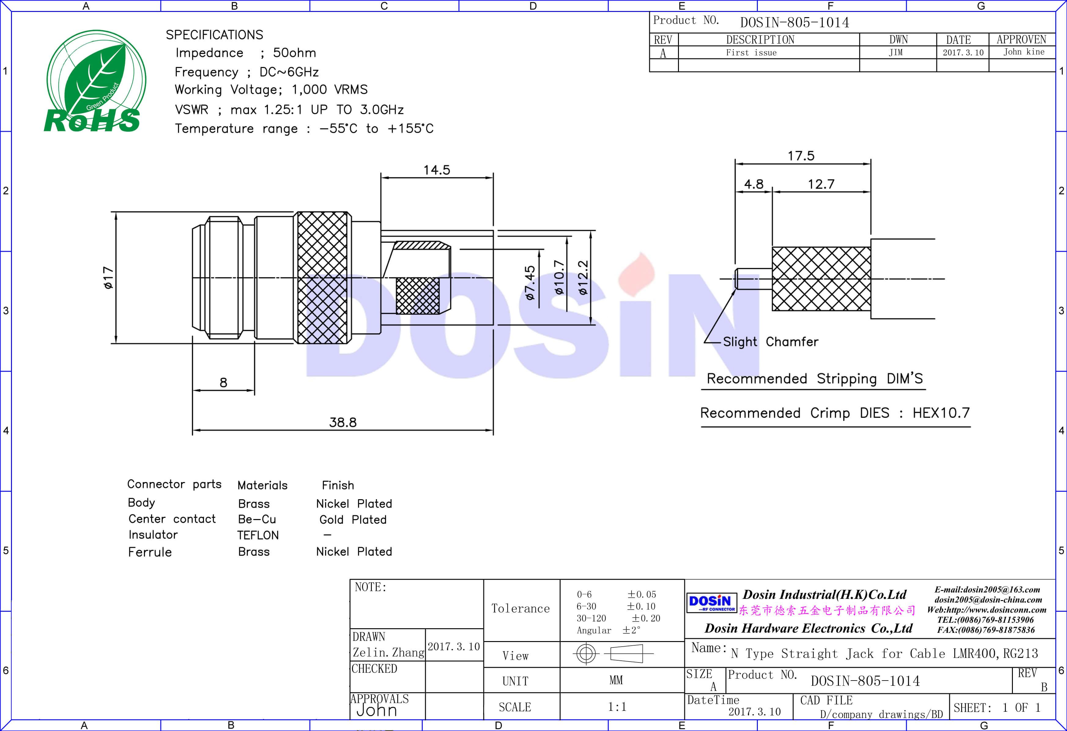 N Connectors for LMR-400 Straight Jack Crimp Type for RG213