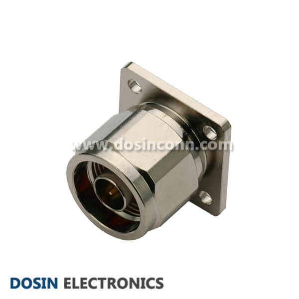 Type N Male Connector Flange Mount 180 Degree Coaxial with 4 Holes