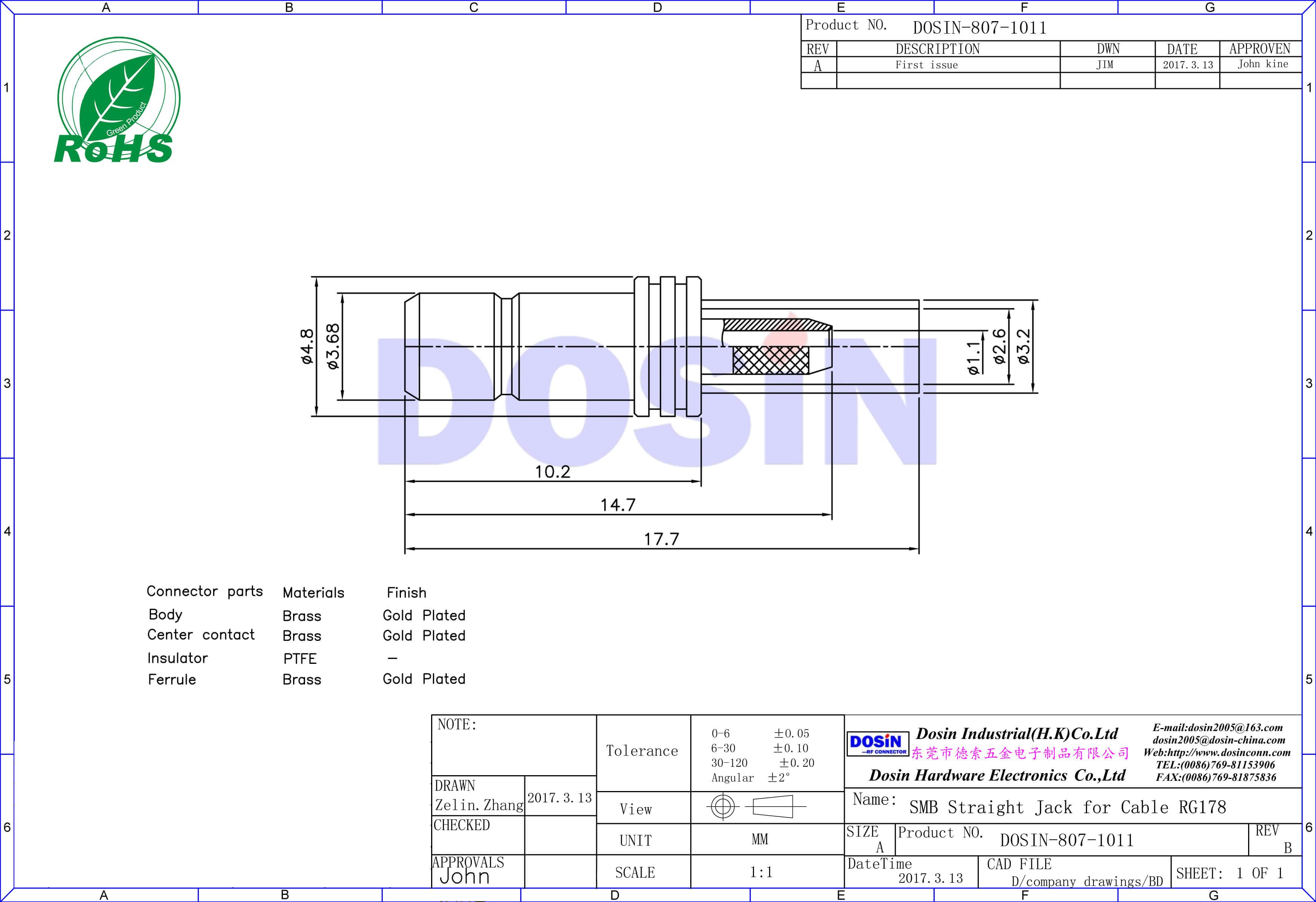 Cheap SMB Connectors 180 Degree Jack Crimp Type for RG178