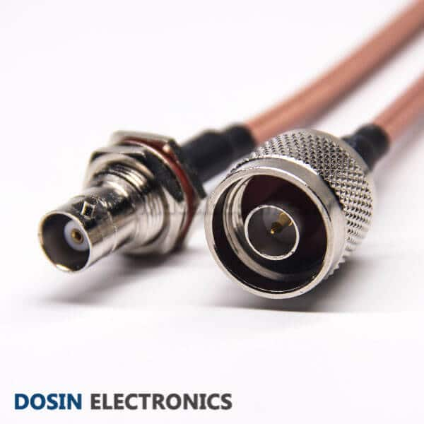 BNC Connector Coaxial Cable to N Type 180 Degree Male for RG142 Cable