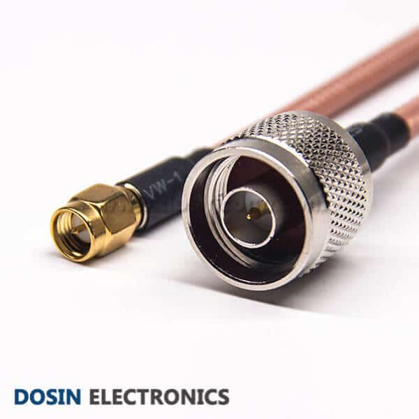 N Type Straight Connector to Straight Male SMA for RG142 Cable
