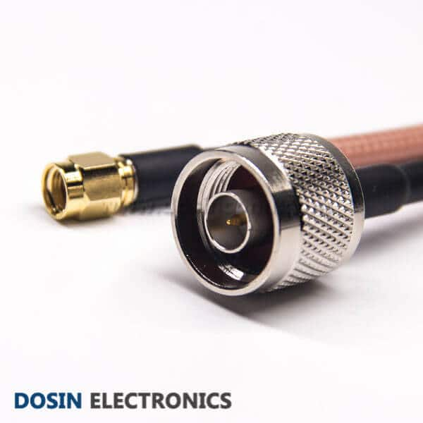 RF Coax Cable Assembly RP SMA Straight Male to N Type Straight Male for RG142 Cable