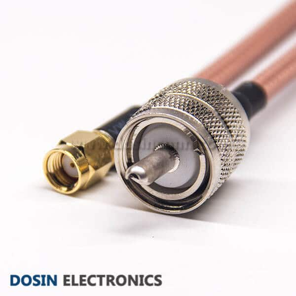 UHF Coaxial Cable Connectors Male 180 Degree Solder Cup to RP SMA Male Straight for RG142 Cable