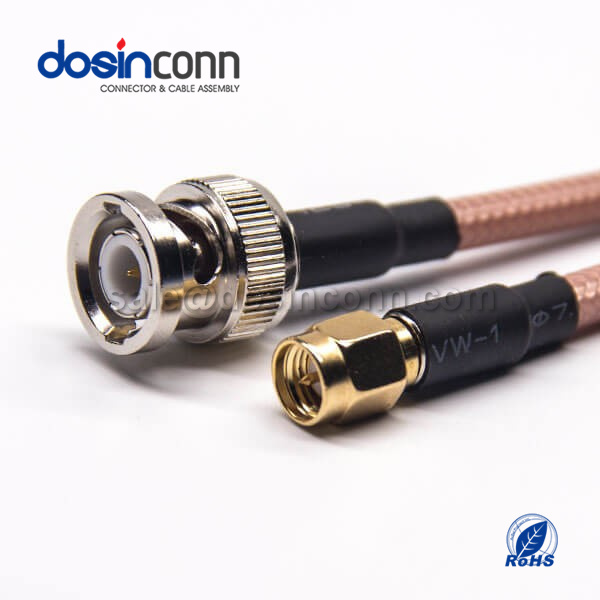 RF Coaxial Cable, BNC Straight Male, SMA Straight Male, RG142 Cable Assembly